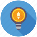 cryptocurrency, decentralized, ethereum, idea, lamp, mining, thinking icon