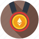 award, cryptocurrency, decentralized, ethereum, medal, mining, prize icon
