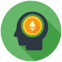 cryptocurrency, decentralized, ethereum, head, mind, mining, thinking icon