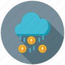 cloud, cryptocurrency, data, decentralized, ethereum, mining, rain icon