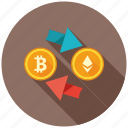cryptocurrency, decentralized, exchange, mining, money, transfer icon