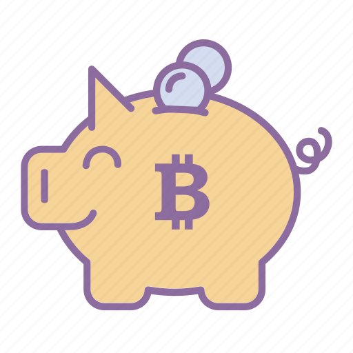 bitcoin, cash, cryptocurrency, penny, piggy bank, save money, wallet icon