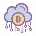 bitcoin, blockchains, cloud, cryptocurrency, secure, server icon