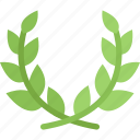 country, culture, history, laurel, people, tradition, wreath icon