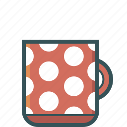 coffee, coffee cup, coffee mug, dotted, spotty mug icon
