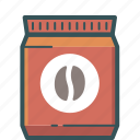 brewed coffee, coffee, coffee bag, coffee bean, espresso, ground coffee icon