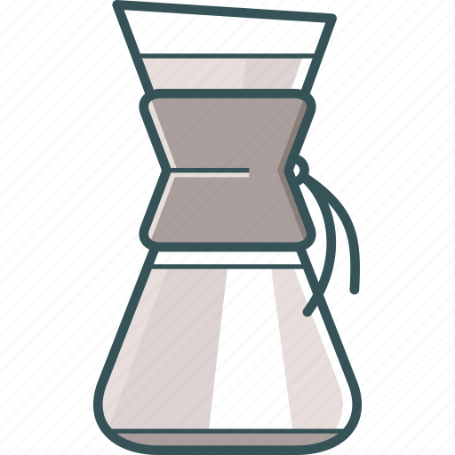 brewed coffee, chemex, coffee, coffeemaker, flask, pour-over coffee icon