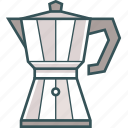 brewed coffee, coffee, coffee kettle, coffee pot, coffeemaker, espresso, moka pot icon
