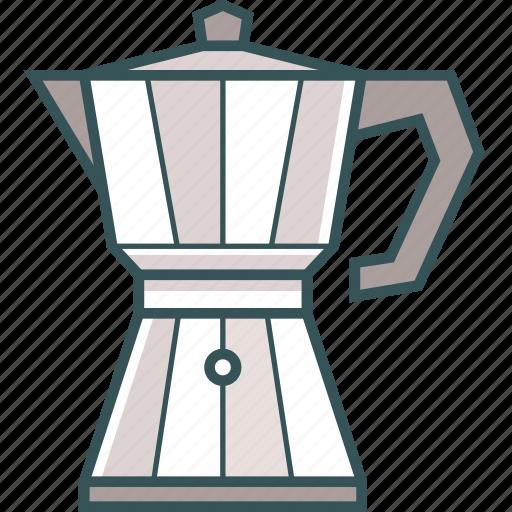 brewed coffee, coffee, coffee kettle, coffee pot, coffeemaker, espresso, moka pot icon