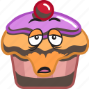 cartoon, cupcake, dessert, emoji, smiley, sweet