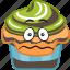 cartoon, cupcake, dessert, emoji, smiley, sweet icon