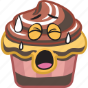 cartoon, cupcake, dessert, emoji, smiley, sweet icon