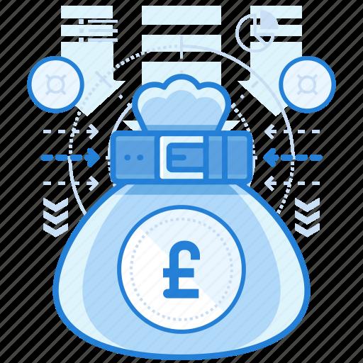 bag, british, currencies, finance, pound icon