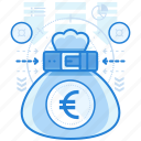 bag, currencies, euro, finance icon