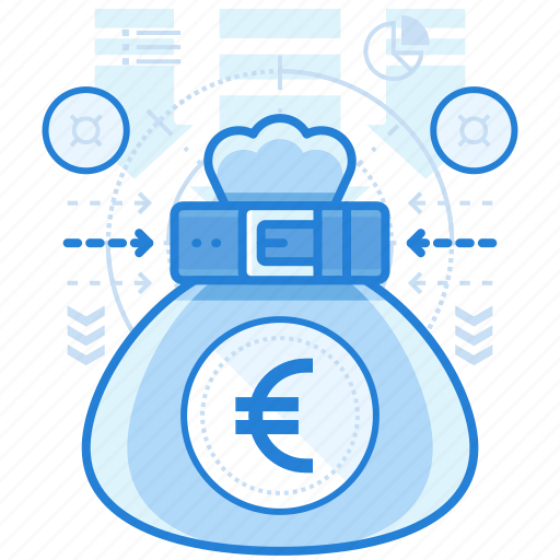 bag, currencies, euro, finance icon