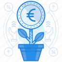 currencies, euro, finance, grow icon