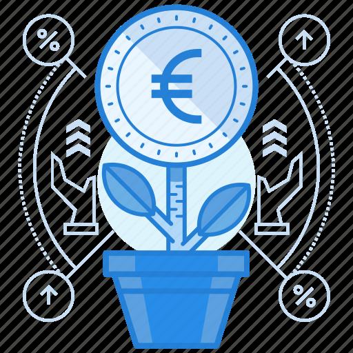currencies, euro, finance, grow icon