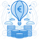 currencies, euro, finance, launch icon