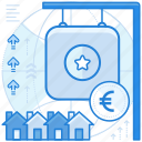 currencies, estate, euro, finance, real icon