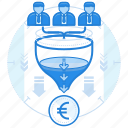 currencies, euro, finance, team icon