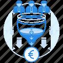 currencies, euro, finance, team icon