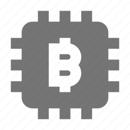 bitcoin, computer chip icon