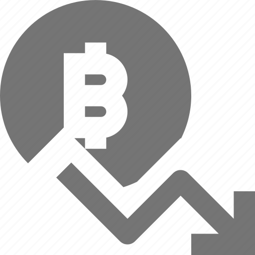arrow, bitcoin, currency, decrease, decreasing icon