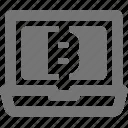 bitcoin, laptop icon
