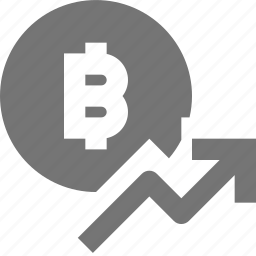 arrow, bitcoin, currency, money, rising icon