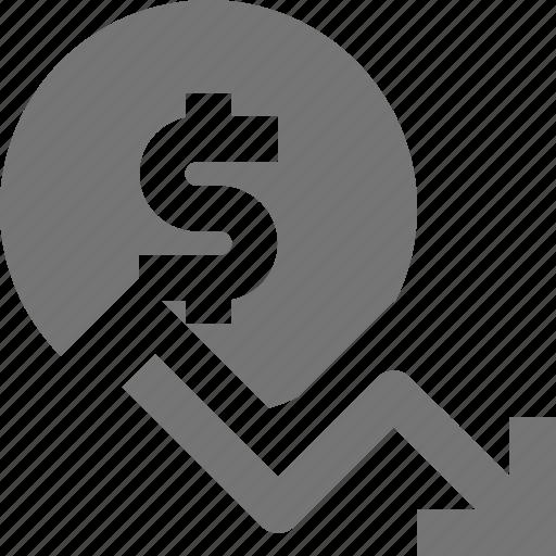 arrow, currency, decrease, decreasing, dollar, money icon