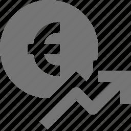 arrow, currency, euro, increase, money, rising icon