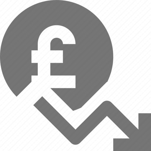 arrow, currency, decrease, decreasing, money, pound icon