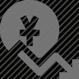 arrow, currency, decrease, decreasing, money, yen icon