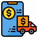 banking, online, payment, smartphone, truck icon