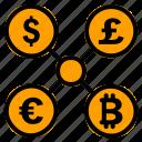 exchange, currency, money, dollar, euro, pound, bitcoin