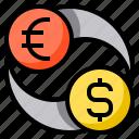 exchange, money, euro, dollar, currency
