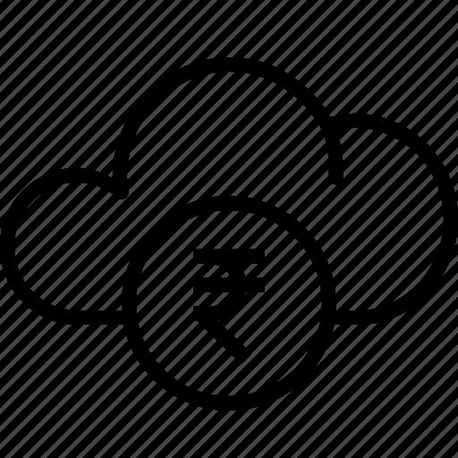 cloud, currency, data, finance, money, rupee, storage icon