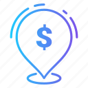business, currency, dollar, location, money icon
