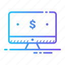 computer, currency, dollar, money icon