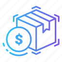 box, currency, delivery, dollar, money icon
