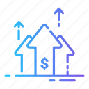currency, dollar, growth, money, top icon