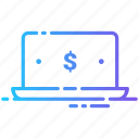 currency, dollar, laptop, money icon