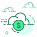cloud, currency, dollar, finance, money