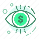 currency, dollar, eye, finance, view icon