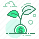 currency, dollar, growth, money, plant icon