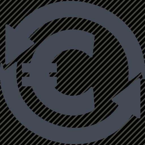 arrow, business, curreney exchange, euro, money icon