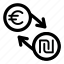 currency, eur, euro, exchange, ils, money, shekel icon