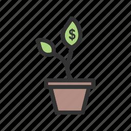 business, coins, gold, growth, money, profit, success icon