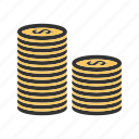 bank, cash, coin, dollar, investment, money, stack icon