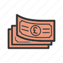 business, cash, currency, money, pound, wealth icon